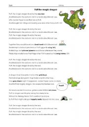 English Worksheets: Puff the magic dragon