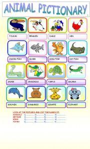 English Worksheets: ANIMAL PICTIONARY 2