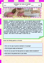 English Worksheet: Gestures a comprehension passage