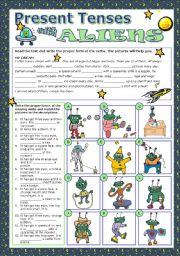 English Worksheets: PRESENT TENSES WITH ALIENS