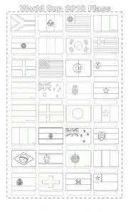 English Worksheet: WORLD CUP 2010 FLAGS AND COUNTRIES