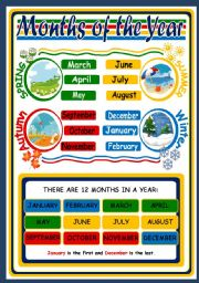 English Worksheet: MONTHS AND SEASONS - POSTER