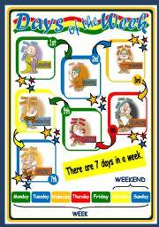 English Worksheet: DAYS OF THE WEEK - POSTER