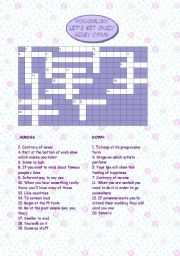 English Worksheets: Hannah Montana - Let�s get crazy - Crossword