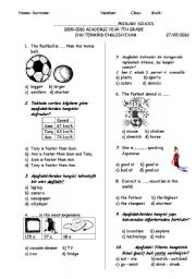 English Worksheet: 7TH GRADE 2ND TERM 3RD EXAM FOR TURKISH STUDENTS