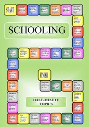 English Worksheets: Schooling - boardgame or pairwork (34 questions for discussion)
