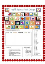 English Worksheet: Healthy Eating and Food Groups