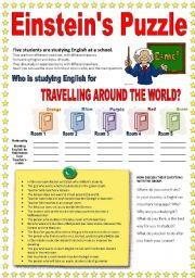 English Worksheet: PUZZLE: Who�s learning English for travelling around the world?