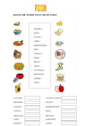english worksheets food match. Black Bedroom Furniture Sets. Home Design Ideas