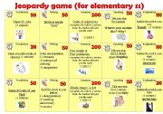 English Worksheet: Jeopardy -Game for Elementary students.