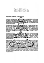 English Worksheets: One minute meditation for a happier life
