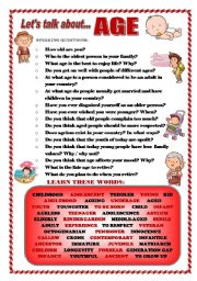 English Worksheets: LET�S TALK ABOUT AGE (SPEAKING SERIES 33)