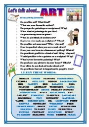 English Worksheet: LET�S TALK ABOUT ART (SPEAKING SERIES 34)