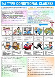 English Worksheets: FIRST TYPE CONDITIONAL CLAUSES