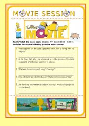 English Worksheets: MOVIE SESSION - The Simpsons Movie - Talking about Environmental Issues