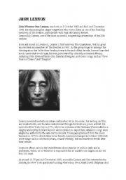 English Worksheets: Jhon Lennon