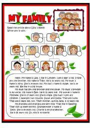 English Worksheet: My family