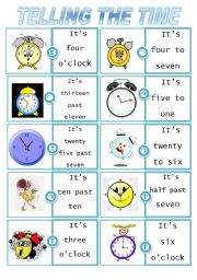 English Worksheets: Time dominoes set 2