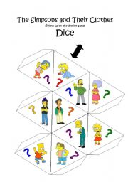 English Worksheets: Speaking Dice - Clothes (20-Sided 3D Object)