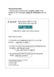 English Worksheets: Transactional letter based on ad
