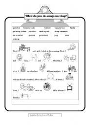 English Worksheets: What do you do every morning?