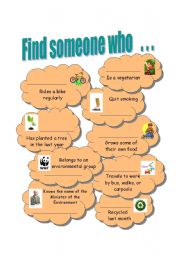 Find someone who . . . environment ice breaker