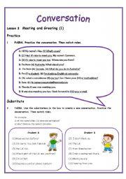 English worksheets conversation lesson 3 meeting and greeting 3 english worksheet conversation lesson 3 meeting and greeting 3 pages includes m4hsunfo