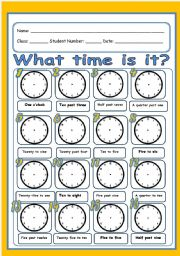 English Worksheet: What time is it? (2 pages)