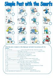 English Worksheets: Simple Past with the Smurfs