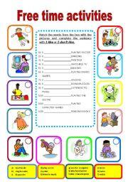 English worksheet: Free time activities