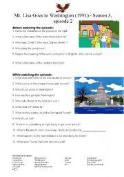 English Worksheet: Mr. Lisa goes to Washington (Simpsons, Season 3) - worksheet