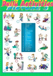 English Worksheets: Daily Activities - Matching 3