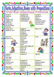 English Worksheet: Verbs,Adjectives,Nouns with Prepositions(Part  2 D-K)
