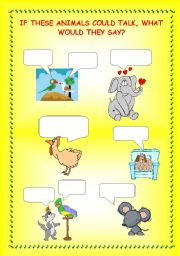 English Worksheets: If Animals Could talk, what would they say?