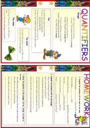 English Worksheets: Quantifiers- too many, too much, Enough, too
