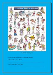English Worksheets: CLASSICAL GODS WORKSHEET