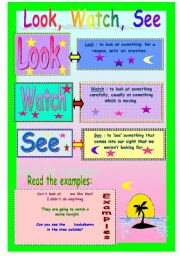 English Worksheets: Look, Watch, See