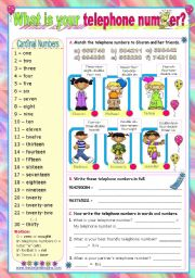 English Worksheet: What is your telephone number?  -  Cardinal numbers from 1 to 30
