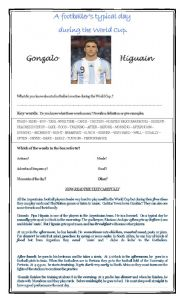 English Worksheet: ROUTINES: A FOOTBALLER�S TYPICAL DAY DURING THE WORLD CUP