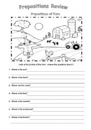 English worksheets: Prepositions at the farm