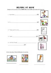 English worksheet: HOUSEHOLD CHORES + HAVE TO (Obligation)
