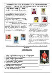 English Worksheets: Footballers in focus