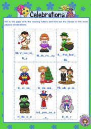 English Worksheet: CELEBRATIONS