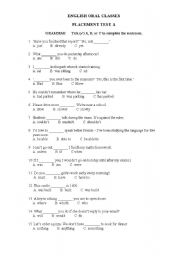 English Worksheet: PLACEMENT TEST (vocabulary, grammar, writing)
