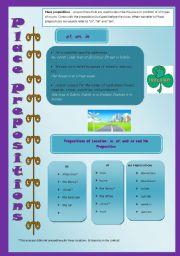 Place Prepositions - in/on/at