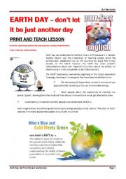 EARTH DAY - don´t let it be just another day - PART 1 from Purrfect English