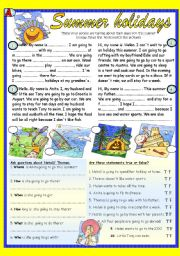 English Worksheet: Summer holidays. Pair work reading  (BW+ Key)