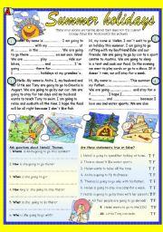 English Worksheet: Summer holidays. Pair work reading  (BW+ Key)
