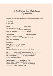 English Worksheets: A new day has come - by Celine Dion