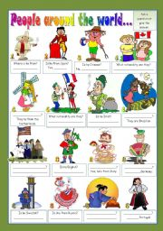 English Worksheet: PEOPLE AROUND THE WORLD...